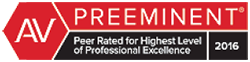 AV | PREEMINENT | Peer Rated For Highest Level Of Professional Excellence | 2016